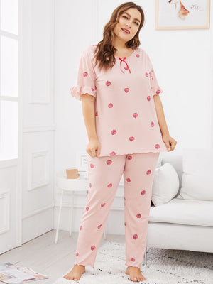 Plus Strawberry Print Ruffle Pajama Set