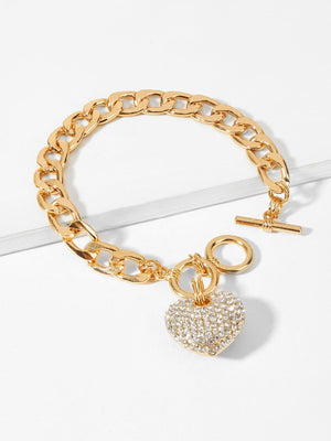 Bracelets For Women - Rhinestone Heart Charm Chain Bracelet