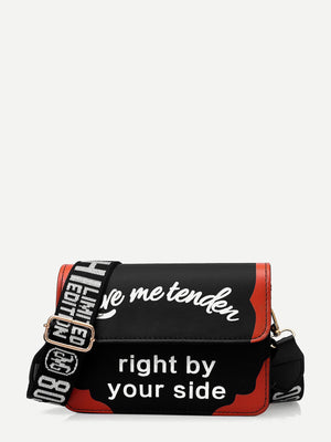 Bags For Women - Slogan Print Flap Crossbody Bag