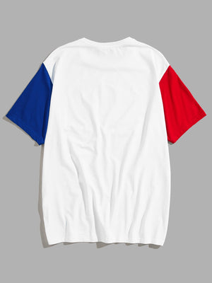 T-Shirts For Men - Color Block Sleeve Letter Print Tee
