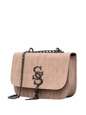 Purse For Women - Tassel Detail PU Chain Flap Bag