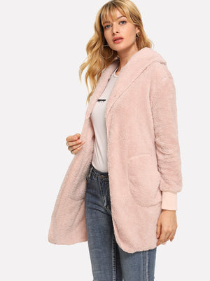 Coats For Women - Pocket Detail Shearling Hooded Teddy Outerwear