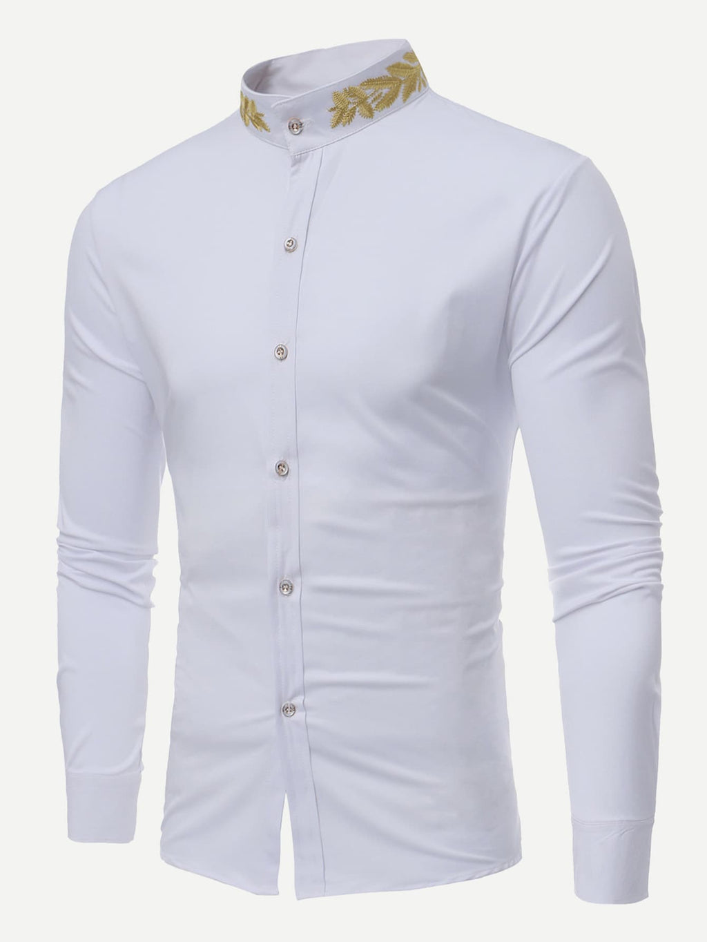 Dress Shirts For Men - Wheat Ears Embroidery Shirt