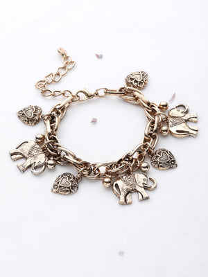 Bracelets For Women - Elephant And Heart Shaped Charm Bracelet