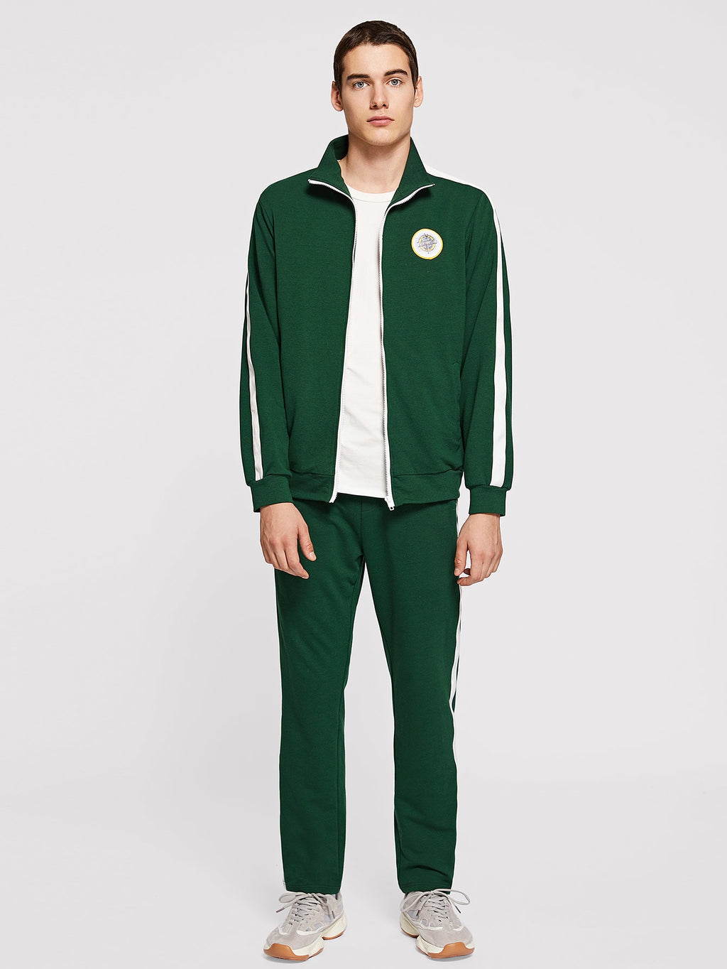 Men's Tracksuit - Zip Up Mock-Neck Jacket & Pants Set