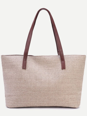 Bags For Women - Light Khaki Zip Closure Linen Tote Bag