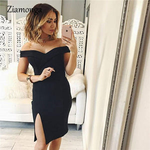 Women Summer Casual Dress Deep v Neck Strapless Pencil Dress Sexy Clubwear Party Bodycon Bandage Dress Vestidos