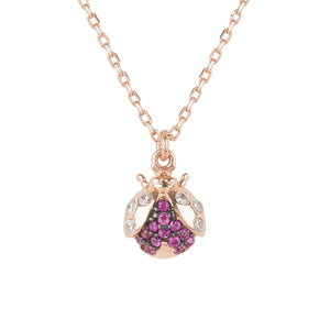 The Lady Bug Ladybird Pendant Necklace Rosegold