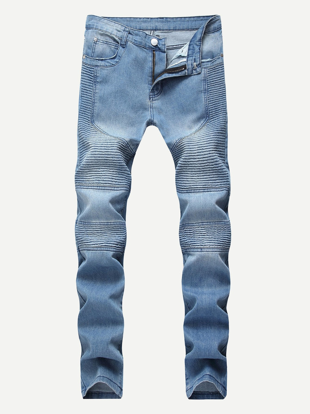 Denim Jeans - Men Washed Locomotive Pleats Jeans