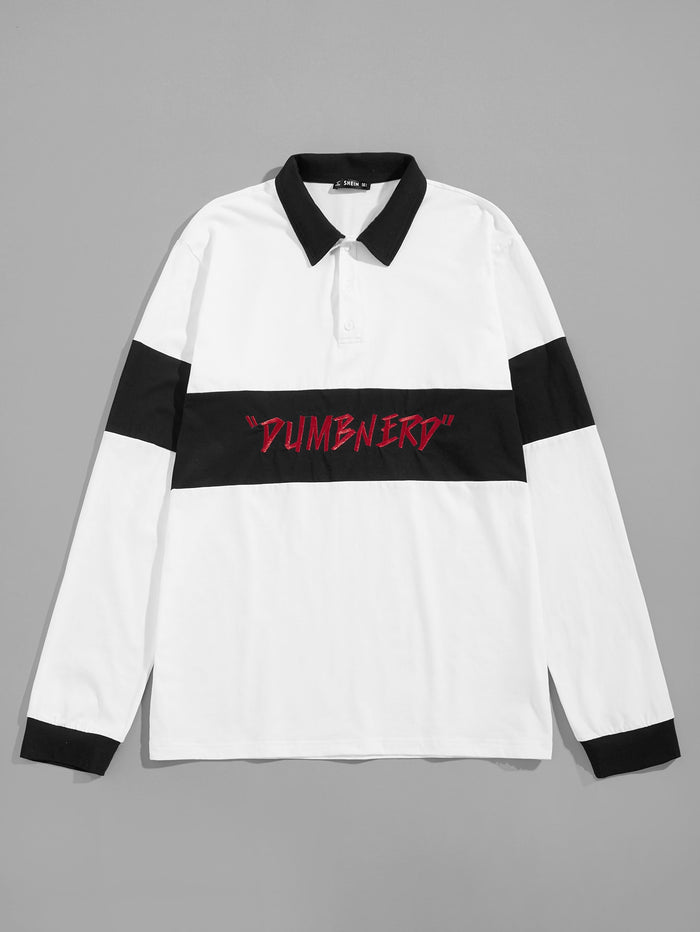 Men's Tops - Color Block Letter Embroidery Polo Shirt
