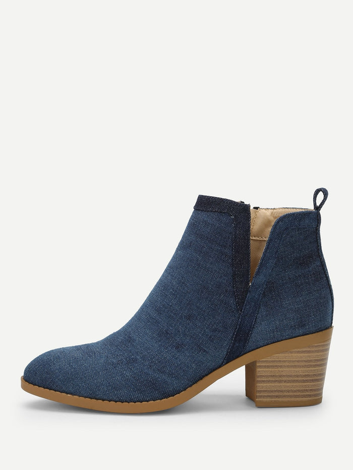 Formal Boots - Plain Denim Chunky Heeled Ankle Boots