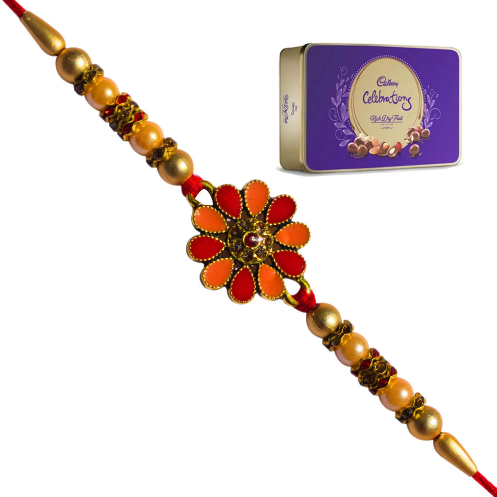 1 Rakhi - Flower Rakhi With Cadbury Celebration Rich Dryfruit Chocolate Box