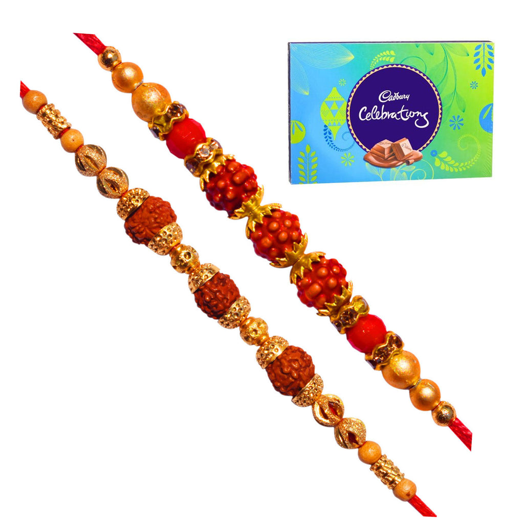 Rakhi Set Of 3 - Diamond and Beads Rakhi