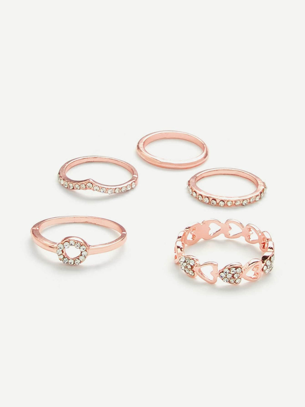 Rings For Women - Heart Design Ring Set With Rhinestone