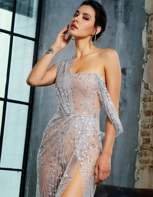 Sexy Dresses - Silver Sequin See Through Gown
