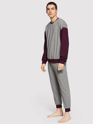 Men's Pajamas - Color Block Top & Pant Pajama Set