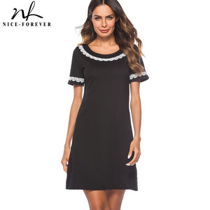 Elegant Brief Black Color Round Neck With Lace Vestidos Short Sleeve Work Women Straight Shift Summer Dress