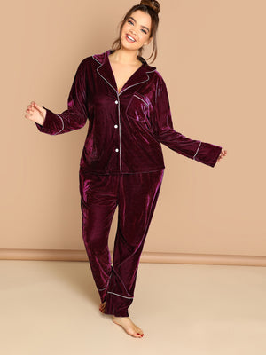 Plus Contrast Tipping Buttoned Velvet Top & Pants Set