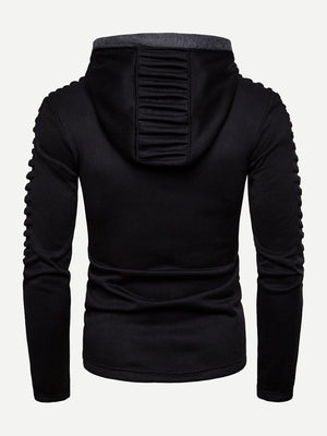 Unique Hoodies - Men Shirred & Zipper Detail Hoodie