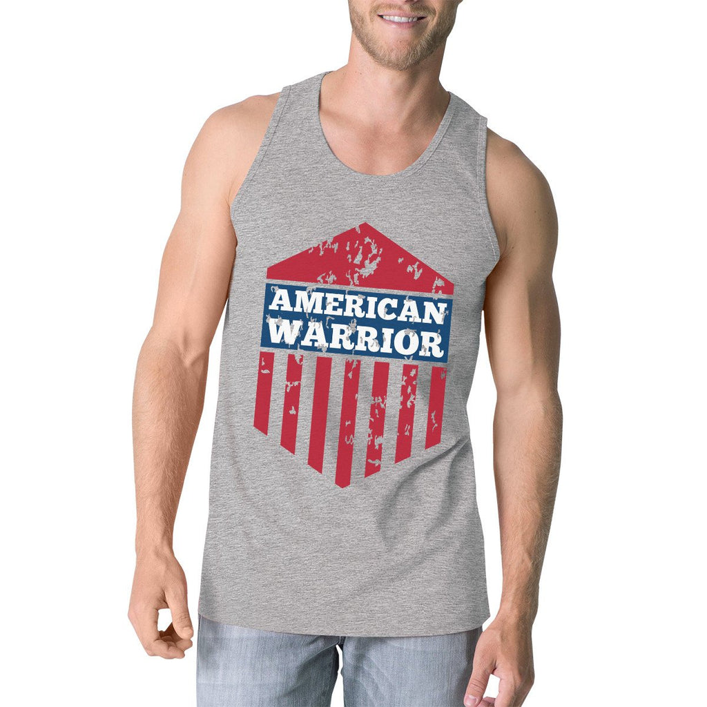 Men's Tank Tops - American Warrior Gray Crewneck Graphic Tanks For Men Gift For Him