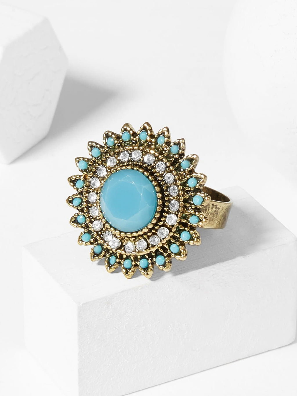 Fashion Rings - Contrast Round Gemstone Ring
