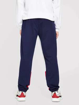 Men's Activewear - Contrast Panel Letter Print Sweatpants
