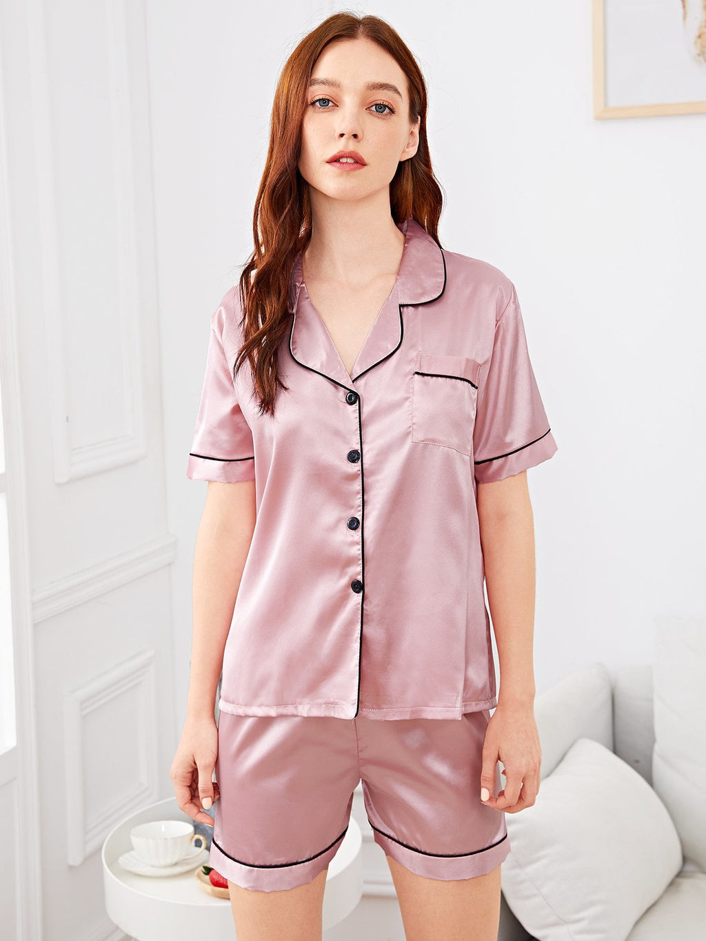 Pajama Set - Contrast Binding Button Up