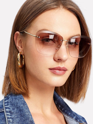 Online Sunglasses - Rimless Tinted Lens Sunglasses