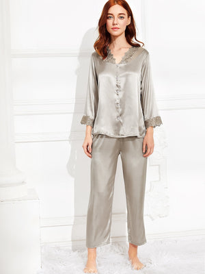 Night Dress For Women - Embroidered Lace Trim Satin Pajama Set
