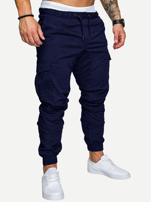 Sports Tights For Men - Drawstring Waist Solid Pants