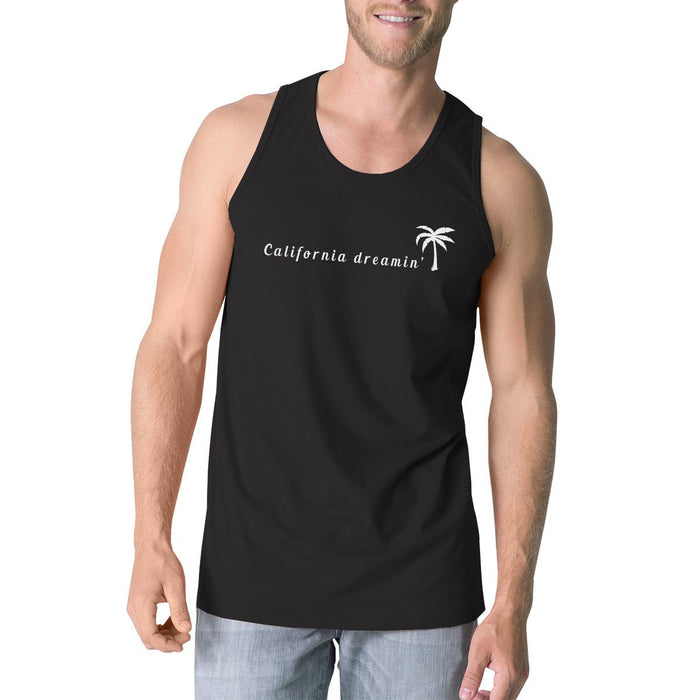 Men's Tank Tops - California Dreaming Mens Black Tank Top Lightweight Summer Tanks