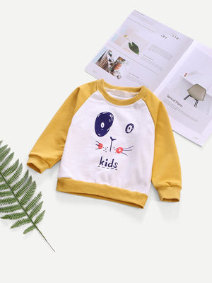 Toddler Boy Sweatshirt - Contrast Raglan Sleeve Cartoon Print Sweatshirt