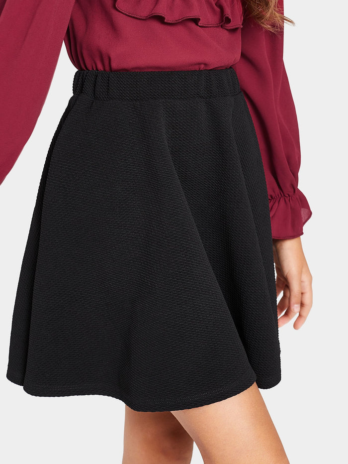Girls Solid Textured Circle Skirt
