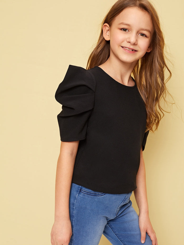 Girls Pleated Puff Sleeve Solid Top Black