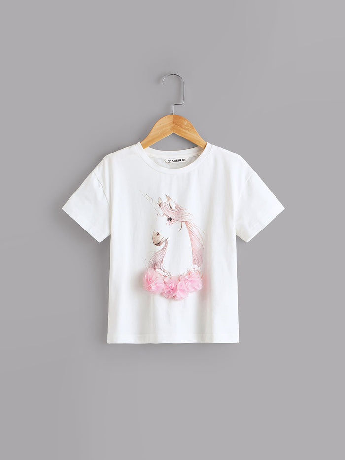 Girls 3D Appliques Floral Unicorn Print Top