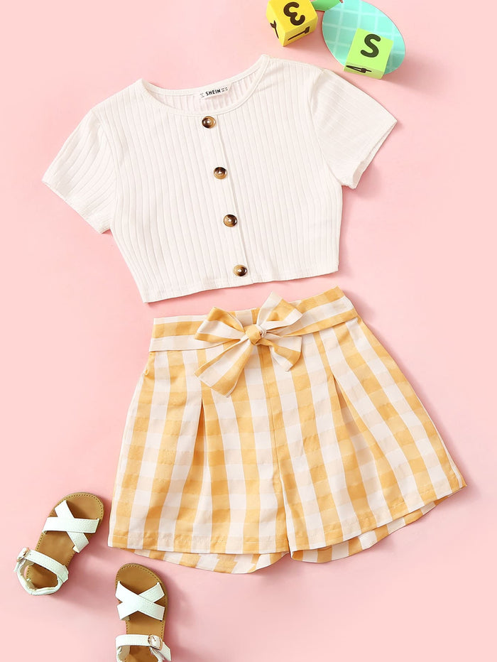 Girls Button Up Ribbed Tee & Belted Gingham Shorts Set Multicolor