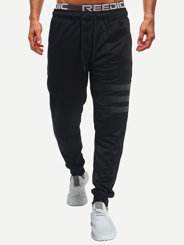 Men's Athletic Apparel - Solid Striped Drawstring Pants
