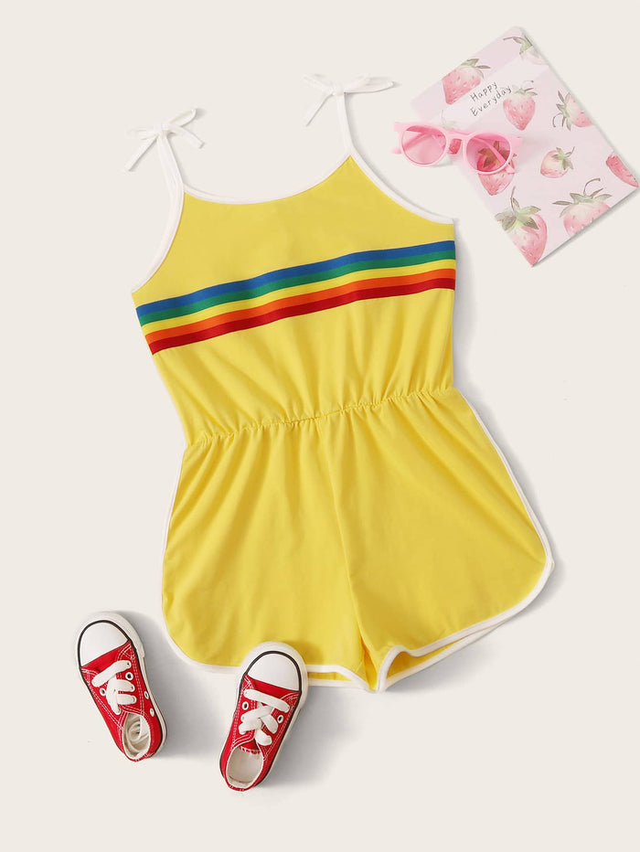 Girls Knot Strap Rainbow Striped Contrast Binding Romper