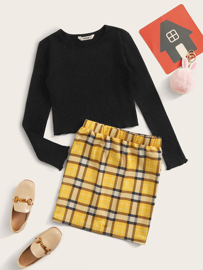 Girls Lettuce Trim Rib-knit Top & Plaid Skirt Set