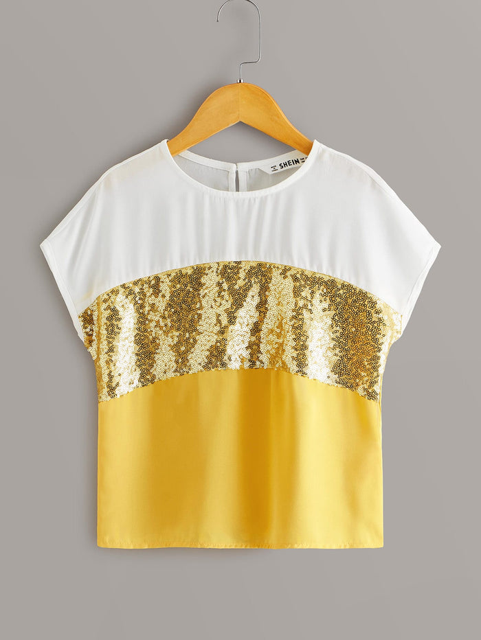 Girls Contrast Sequin Cut-and-sew Blouse Yellow