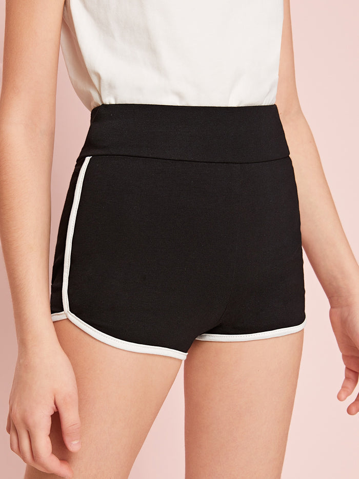 Girls Wide Waistband Dolphin Shorts Black