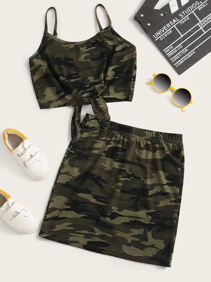 Girls Knot Hem Camo Cami Top & Skirt Set