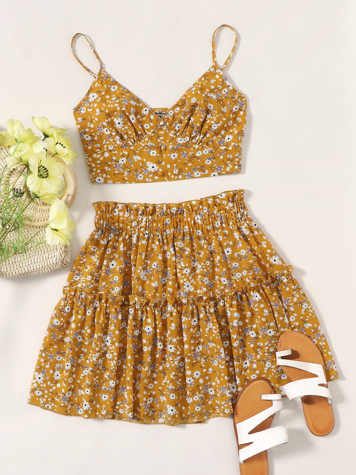 Ditsy Floral Cami Top & Skirt Set