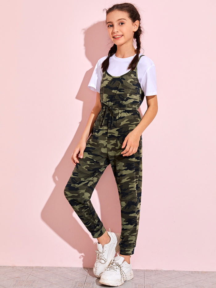Girls Camo Print Cami Jumpsuit Without Top