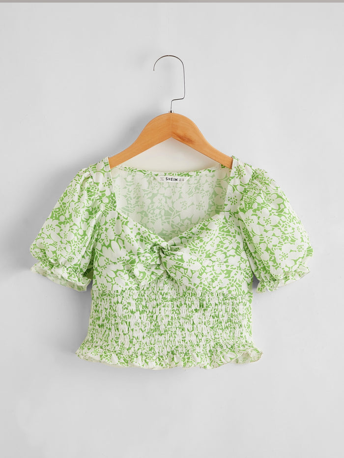 Girls Sweetheart Neck Twist Front Shirred Panel Frill Trim Floral Top Mint Green