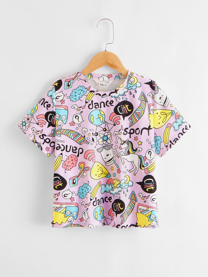 Girls Letter and Cartoon Graphic Top