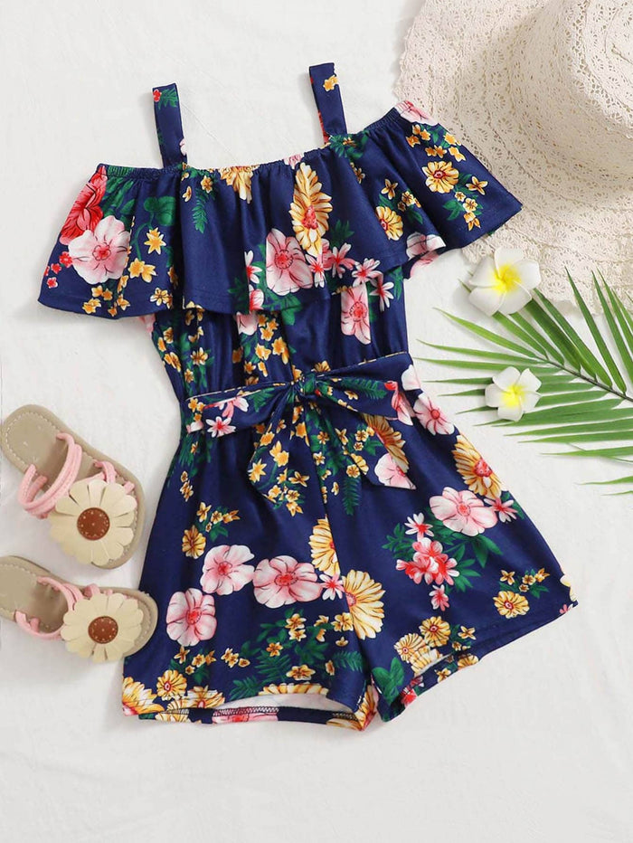 Girls Foldover Cold Shoulder Self Belted Floral Romper