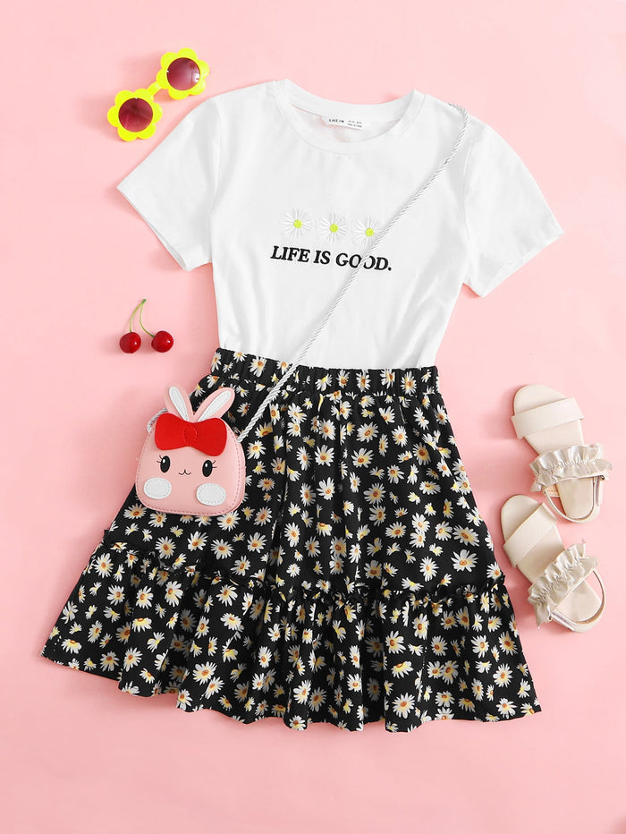 Girls Daisy Floral and Slogan Embroidery Tee & Ruffle Hem Skirt Set