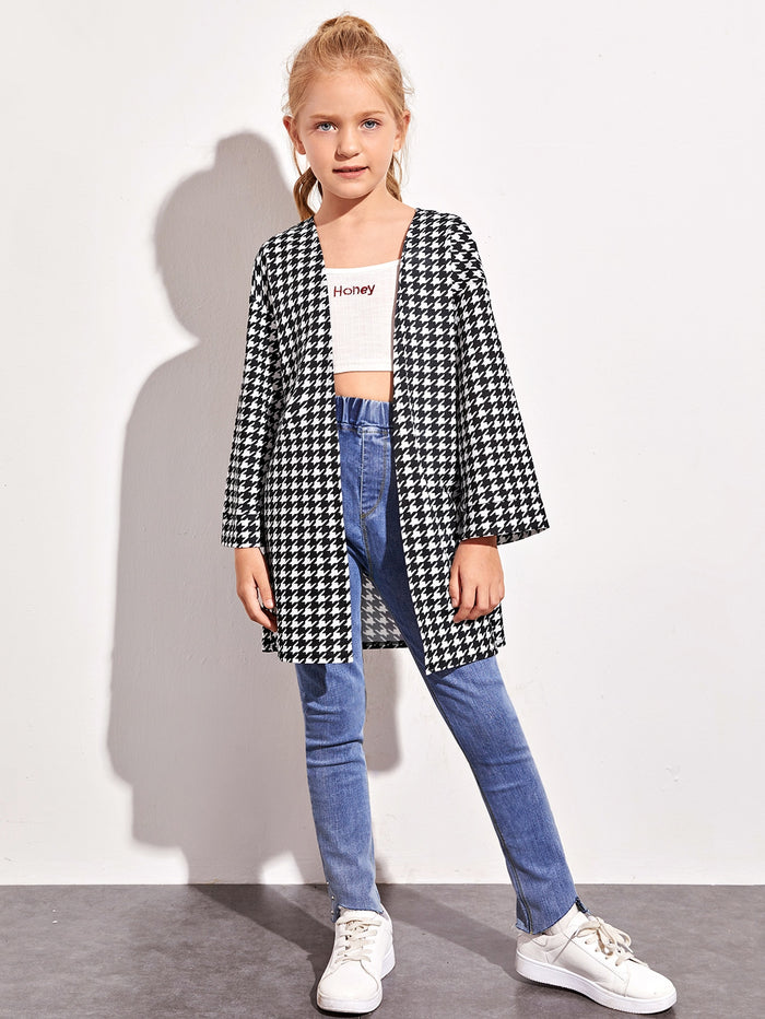 Girls Drop Shoulder Open Front Houndstooth Coat