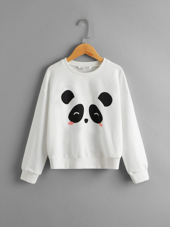 Girls Panda Print Drop Shoulder Pullover